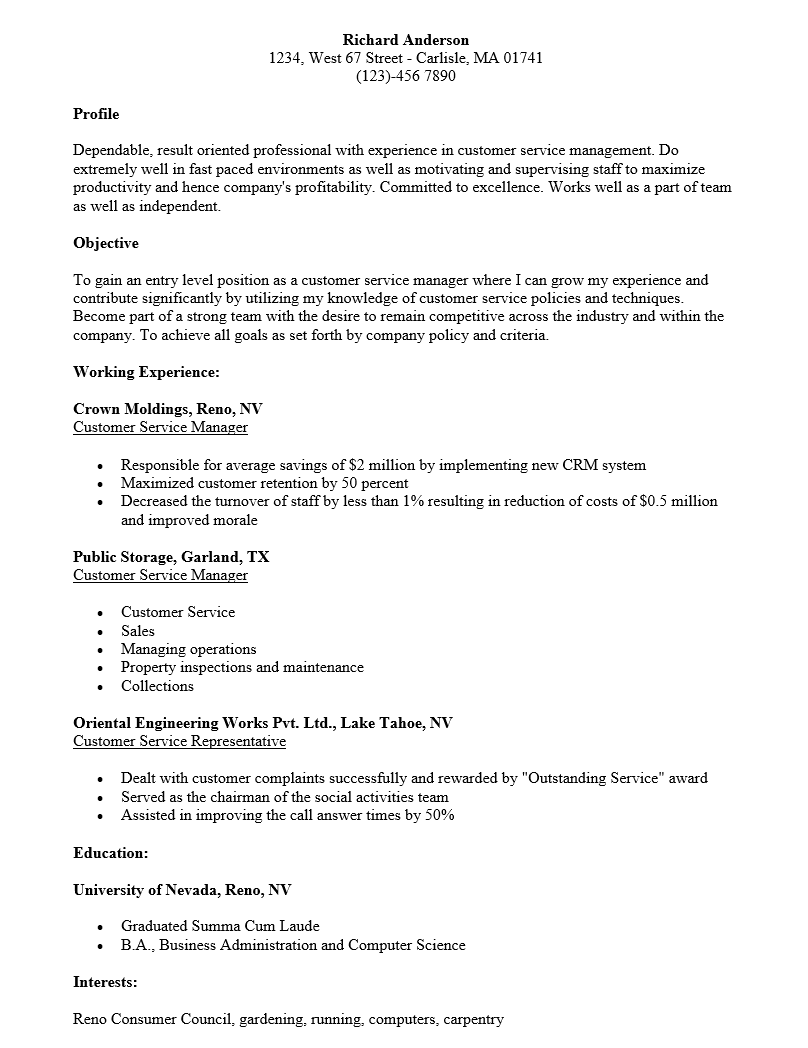 Free sample customer service manager resume