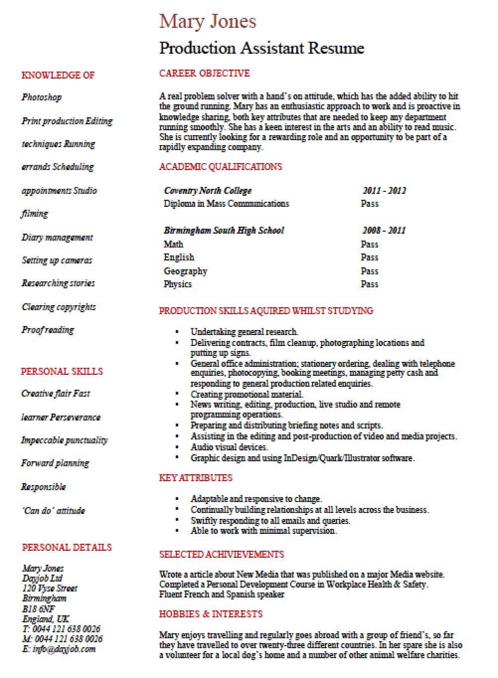 Sample resume production assistant movie