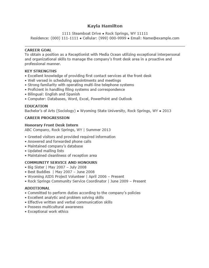 Free Entry Level Receptionist Resume Template Sample – Resume for Receptionist
