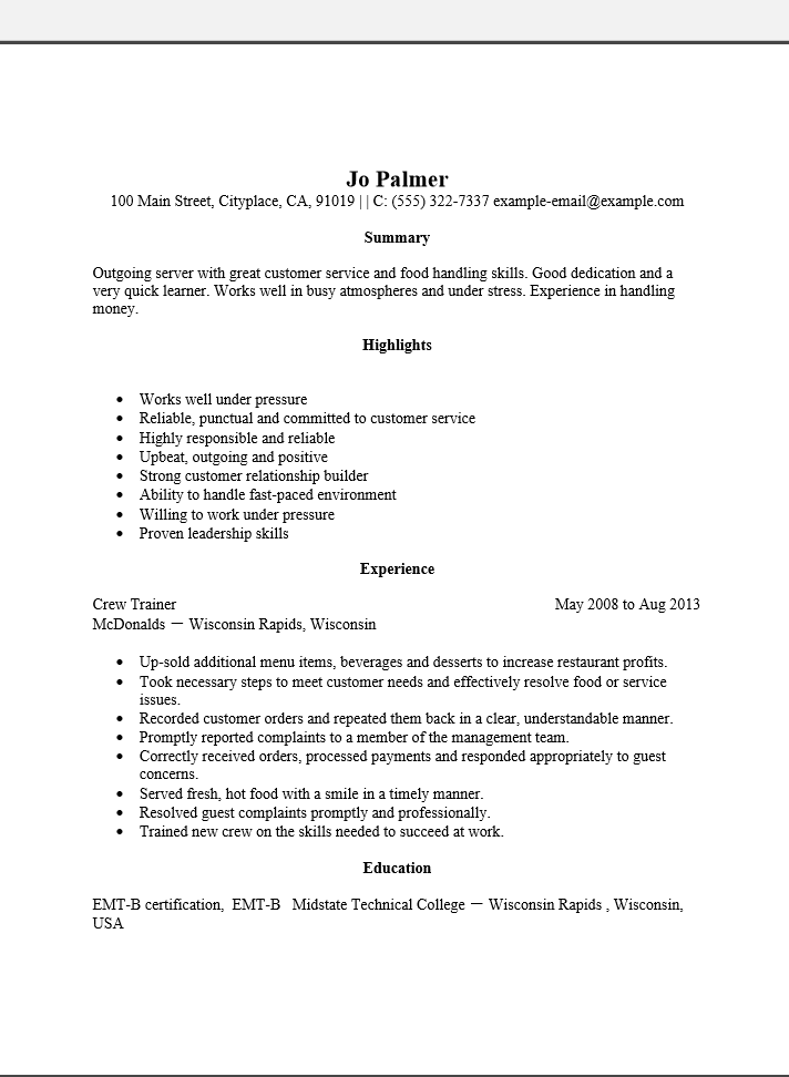 Free Entry Level Server Resume Template Sample Ms Word