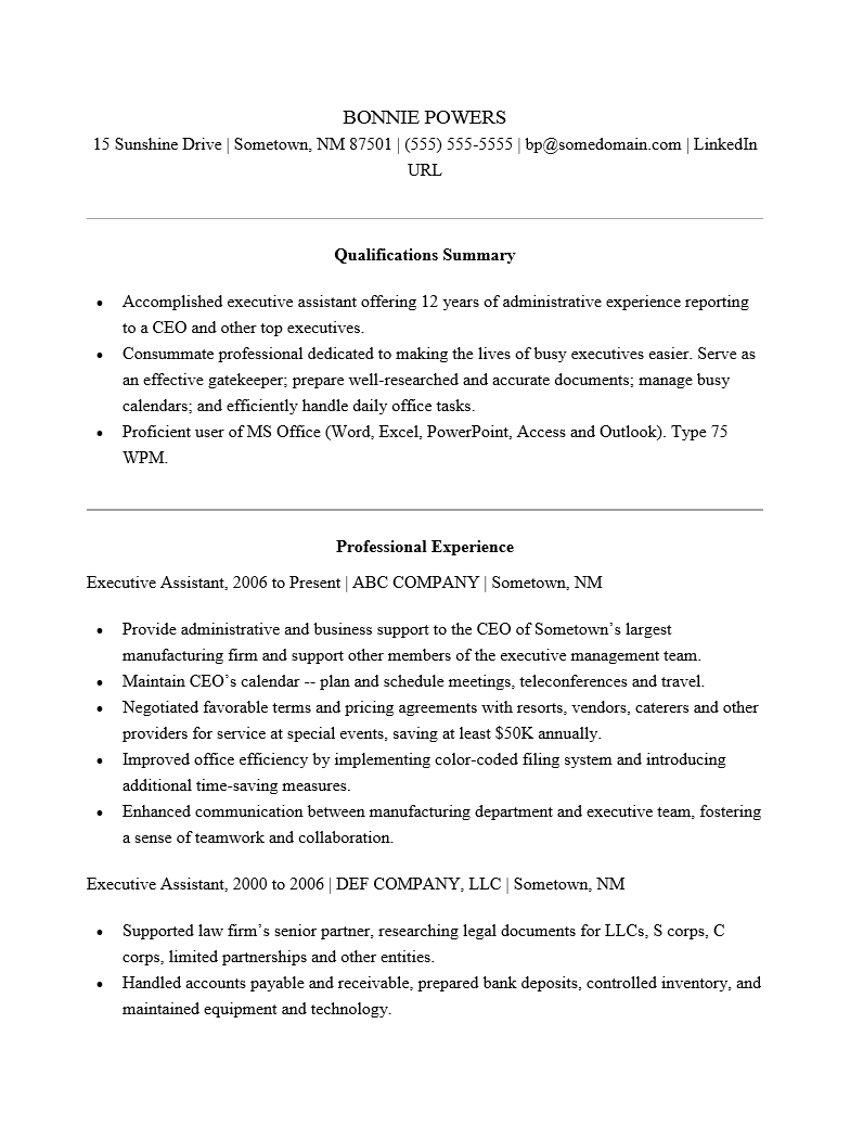 Administrative Assistant Resume Template Free Functional Resume