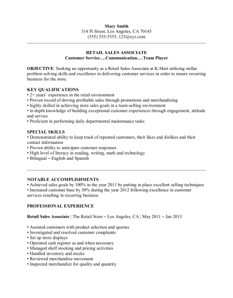 Experienced Midlevel Cust Serv Retail Resume Temp  Customer Service Retail Resume