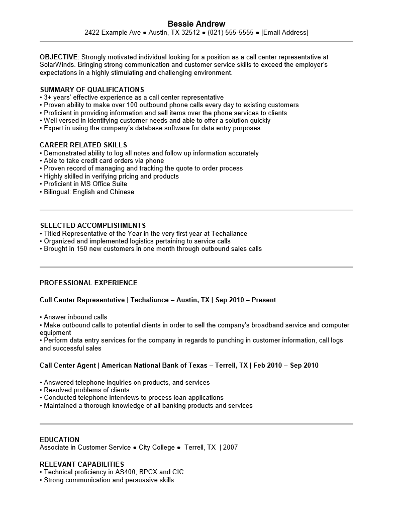 Free Customer Service Call Center Resume Template Sample Ms Word