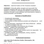 Film Production Assistant Resume Template