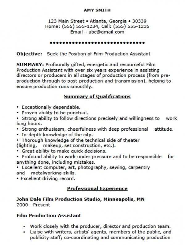 film-production-assistant-resume-template
