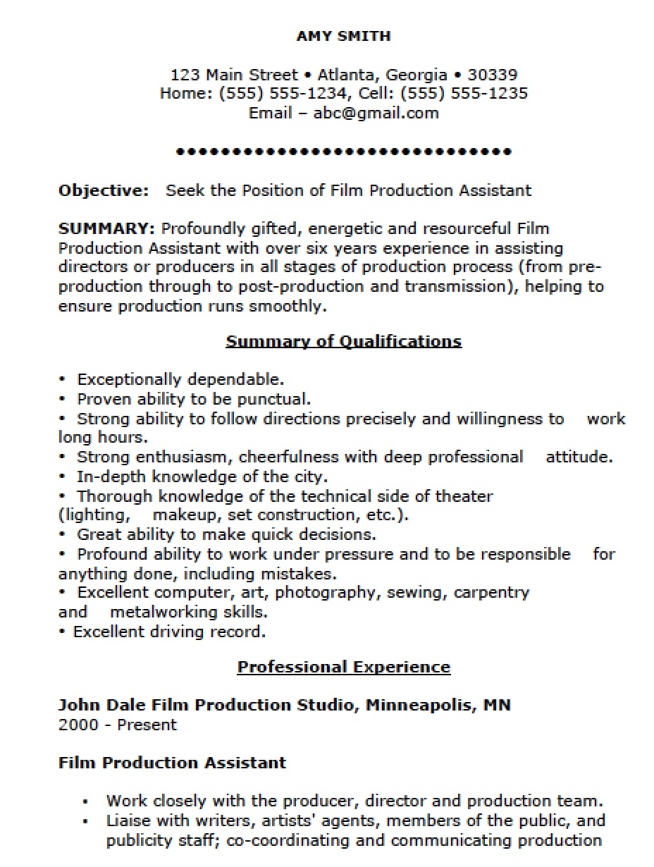 Free Film Production Assistant Resume Template Sample