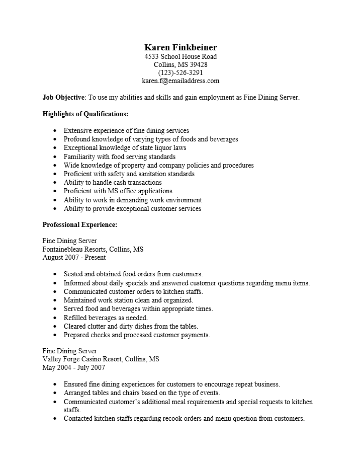Free Fine Dining Server Resume Template