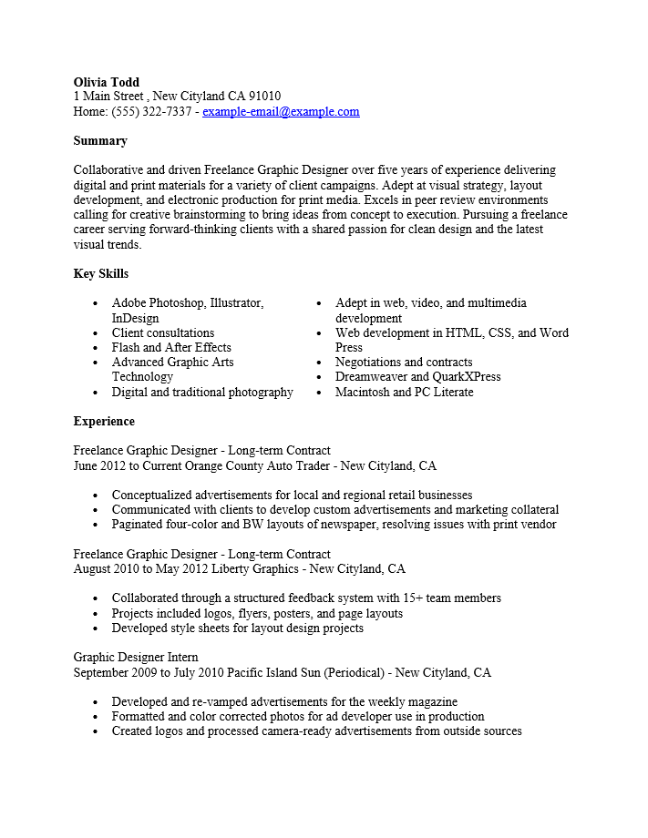 adobe pdf pdf ms word doc rich text - Freelance Graphic Designer Resume