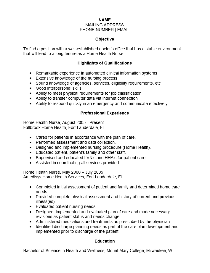 Home Care Nurse Resume Sample Mintresume