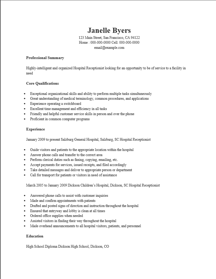 Free Hospital Receptionist Resume Template Sample – Resume for Receptionist