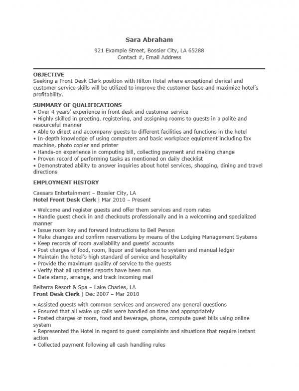 hotel receptionist resume template   resume templates