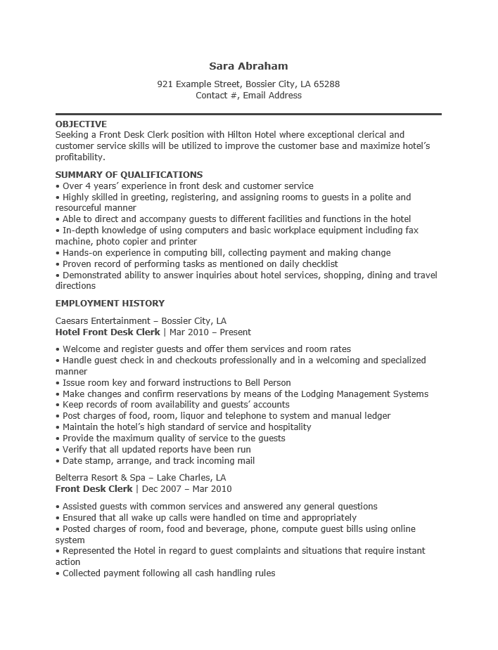 free hotel receptionist resume template sample ms word
