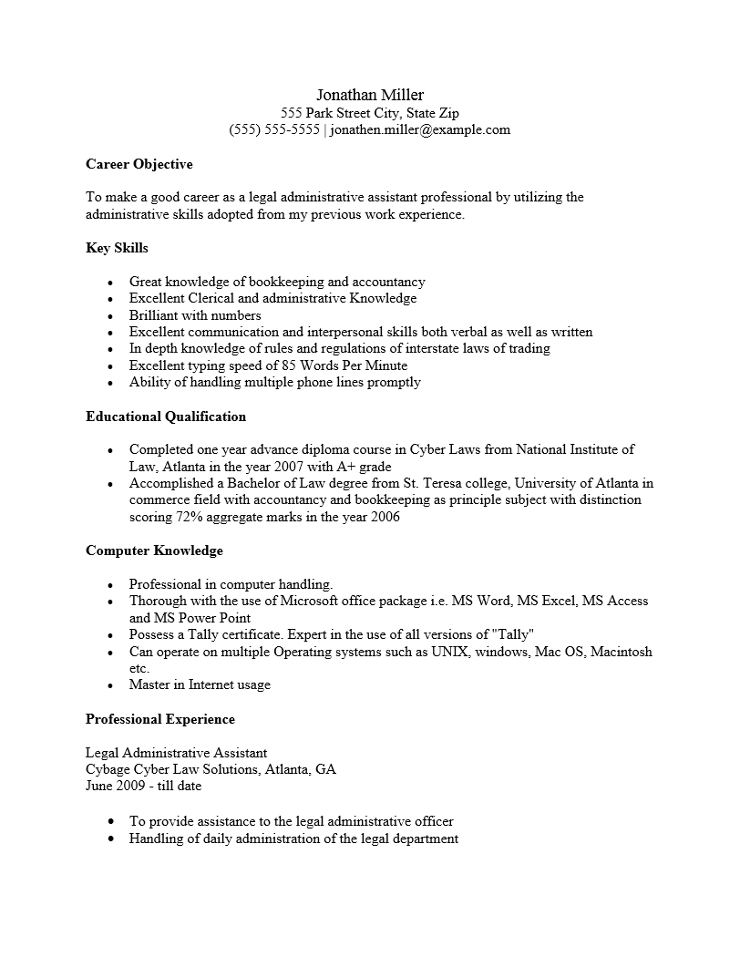 legal administrative assistant resume template   resume templates