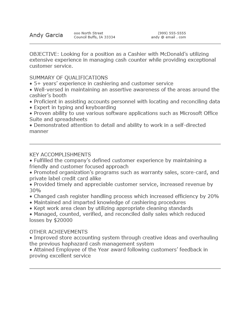 Free Mcdonaldu0027s Cashier Resume Template Sample Ms Word