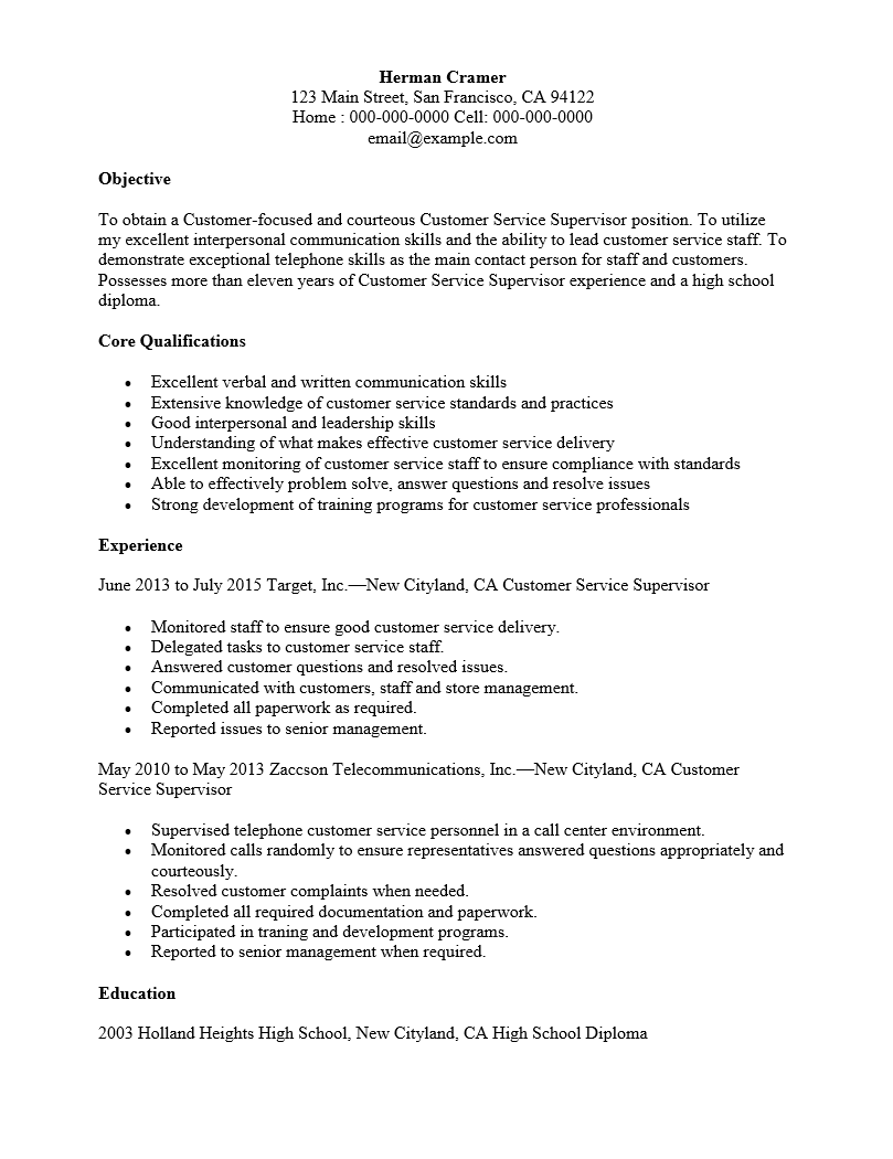 midlevel cust service supervisor resume sample - Supervisor Resume Templates