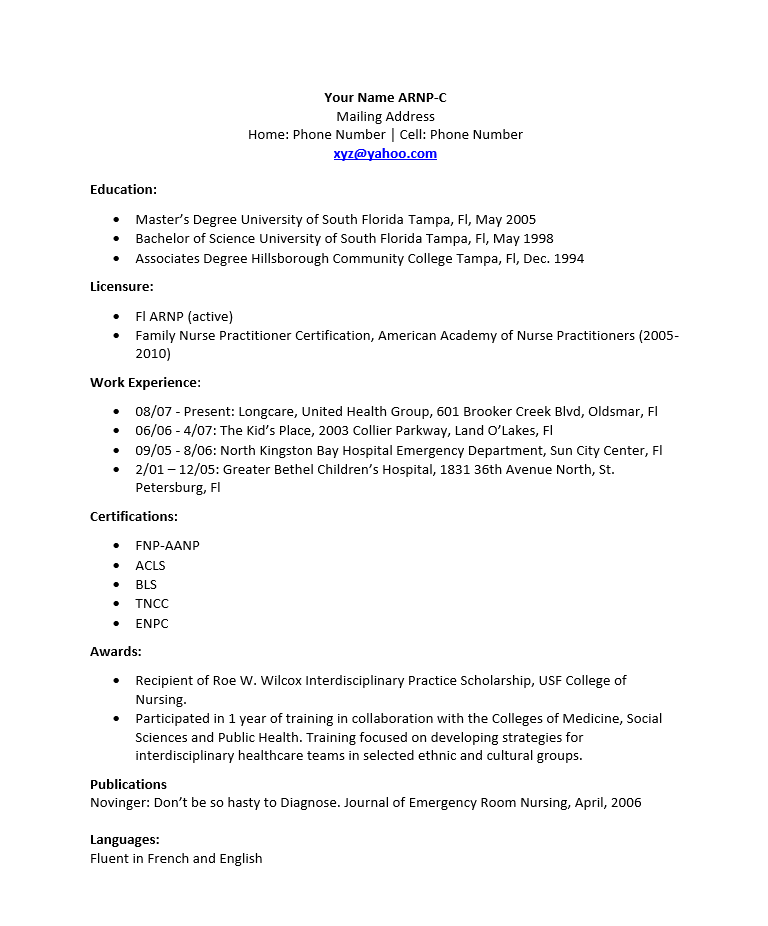 nurse practitioner resume template   resume templates