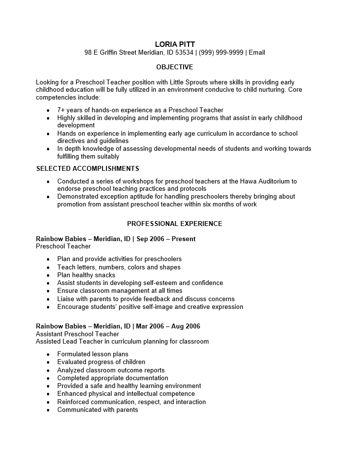 Free Preschool Teacher Resume Template Sample