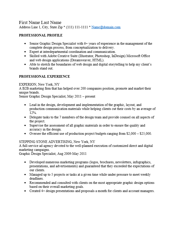 Adobe PDF (.pdf) | MS Word (.doc) | Rich Text  Professional Graphic Design Resume