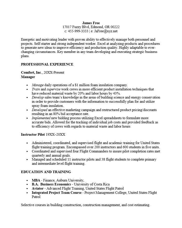 Free Reverse Chronological Resume Template Sample MS Word