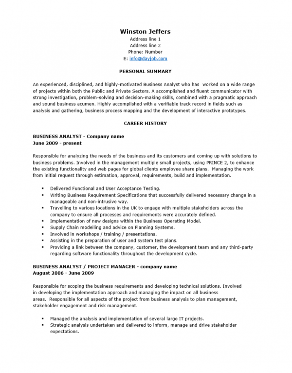 free senior business analyst resume template sle ms