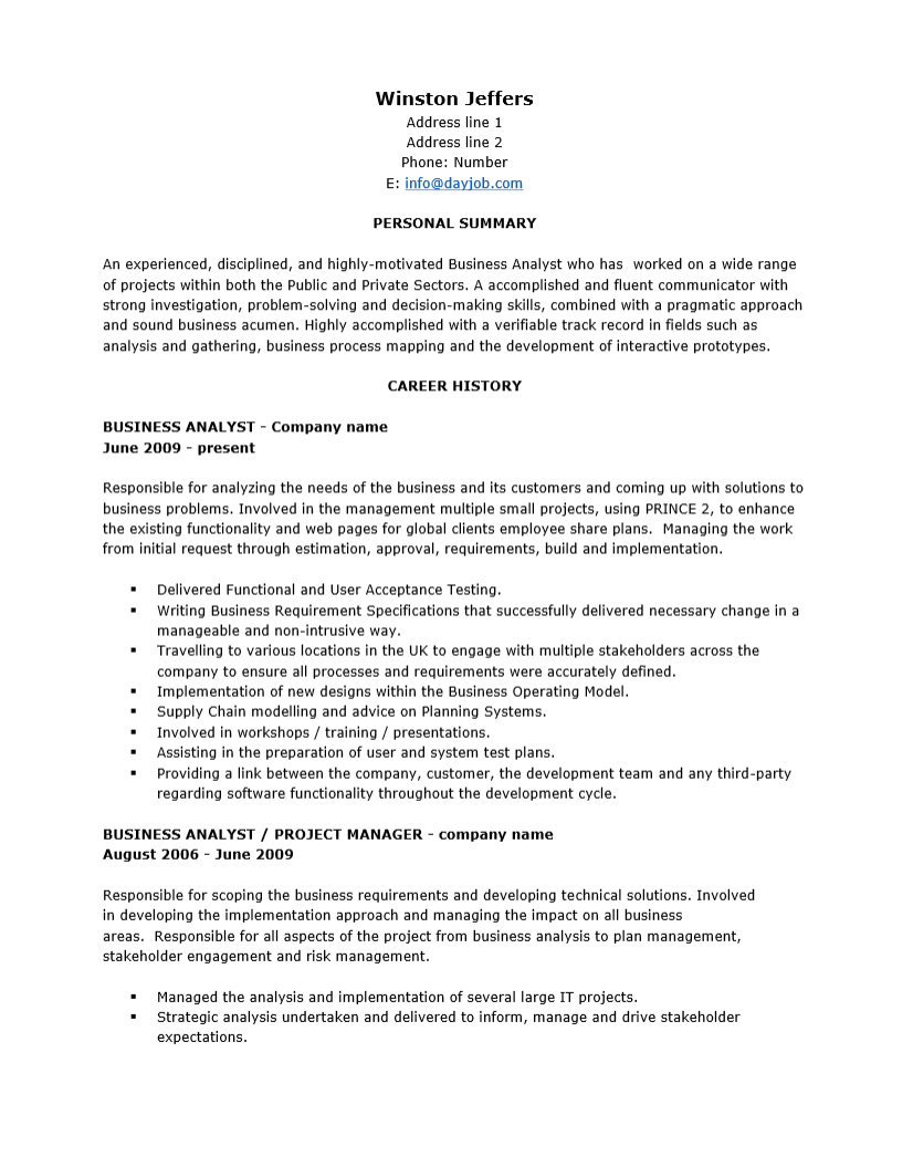 Free Senior Business Analyst Resume Template Sample – Senior Business Analyst Resume Example