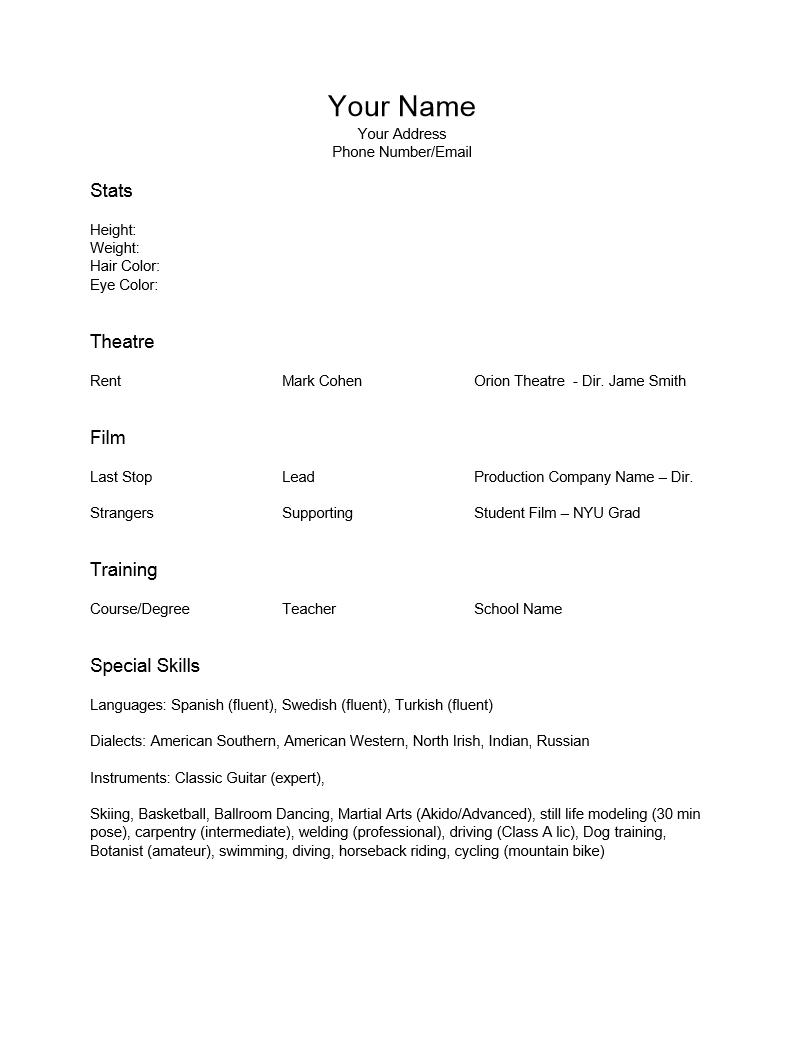 Free Special Skills Acting Resume Template | Sample | MS Word