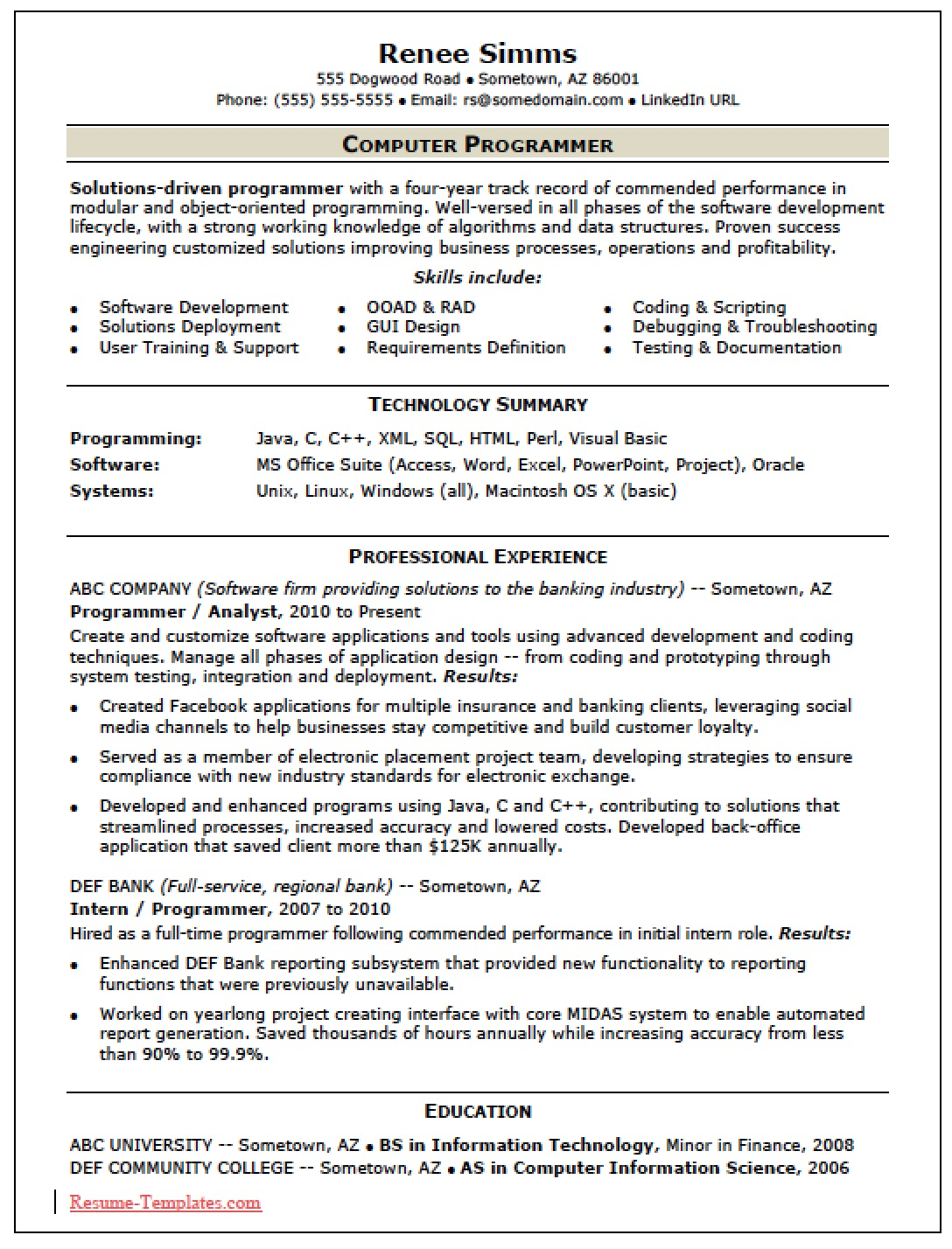 Computer Programming Resume Free Skilled Computer Programmer Resume Template  Sample  Ms Word