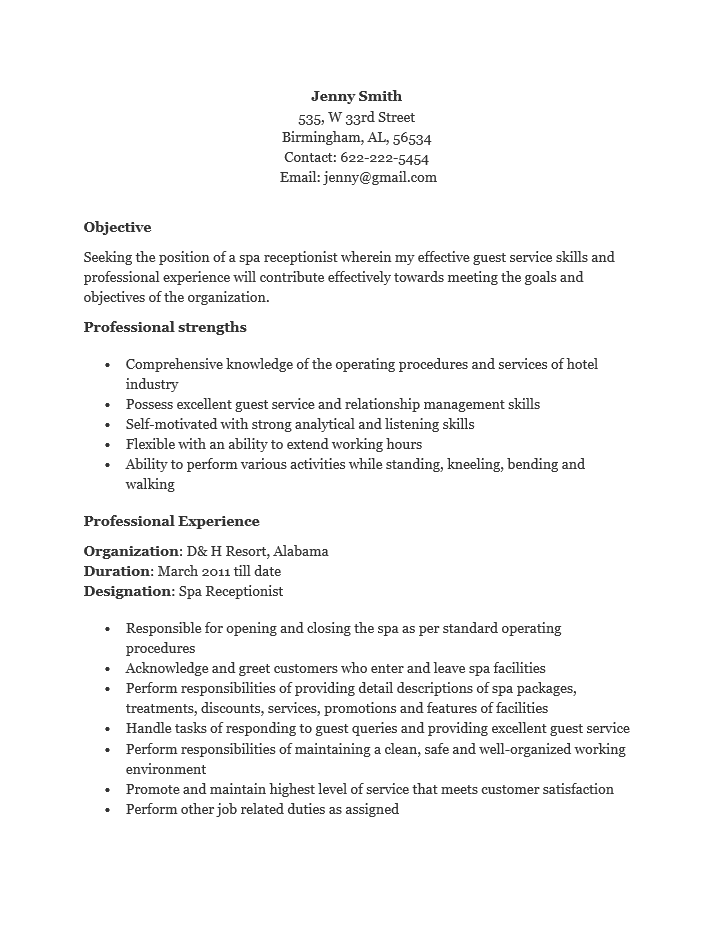 Free Spa Receptionist Resume Template Sample – Hotel Receptionist CV