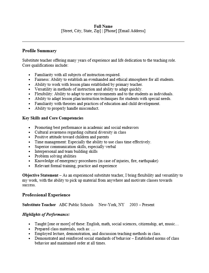 Free Substitute Teacher Resume Template Sample Ms Word