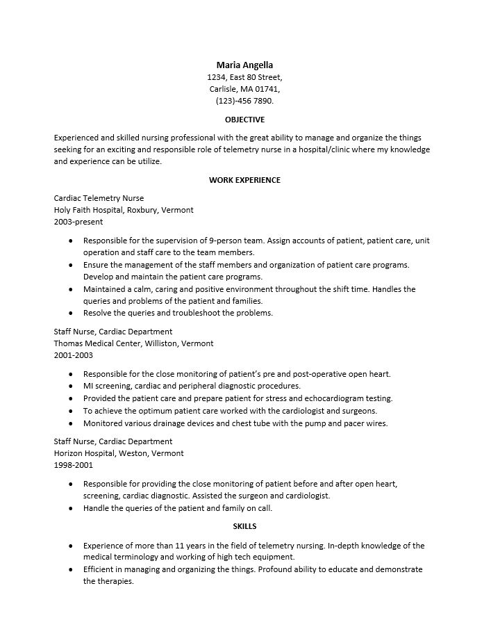 free telemetry nurse resume template sample ms word