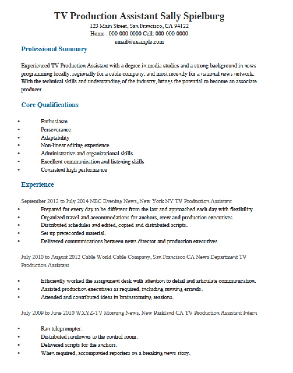 Television Production Resume Sample
