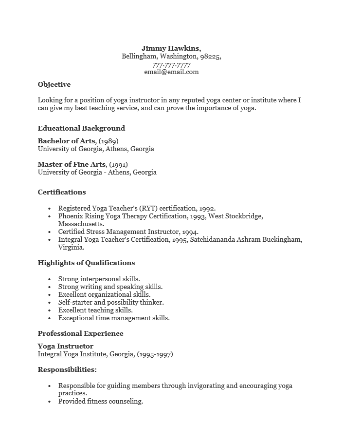 Yoga Instructor Resume Template Templates