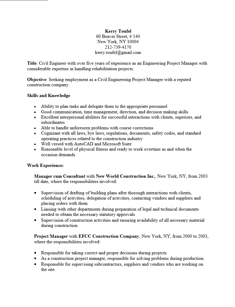 Free Engineering Project Manager Resume Template Sample