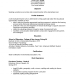 First Year (Entry Level) Teacher Resume Template