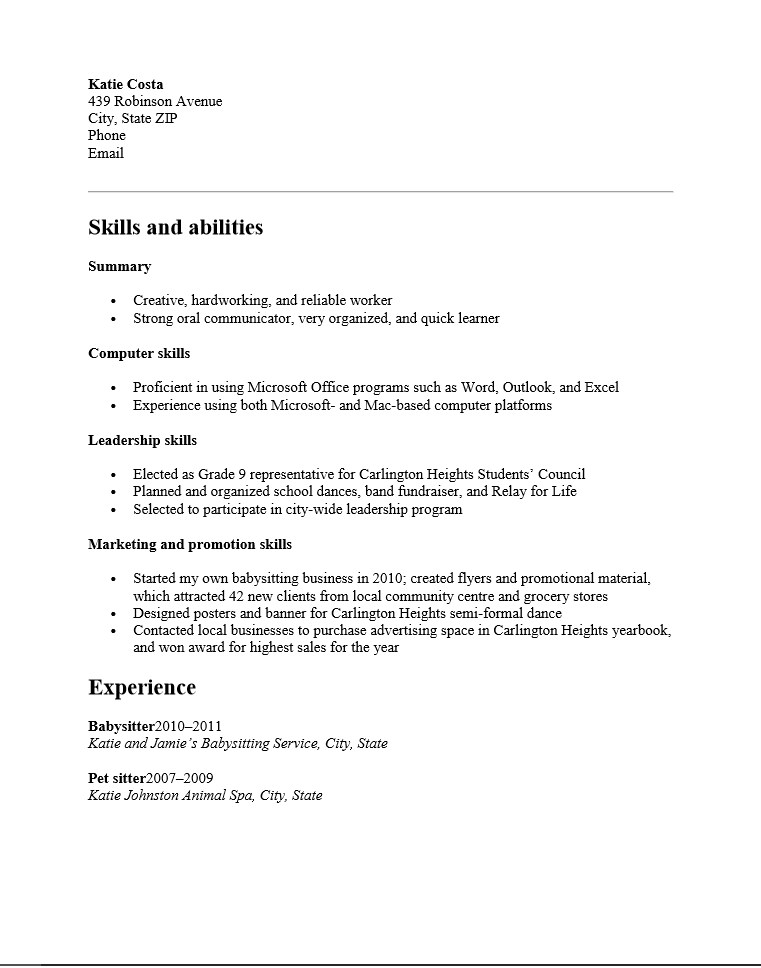 resume writing for high school students pdf