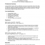 Math Teacher Resume Template