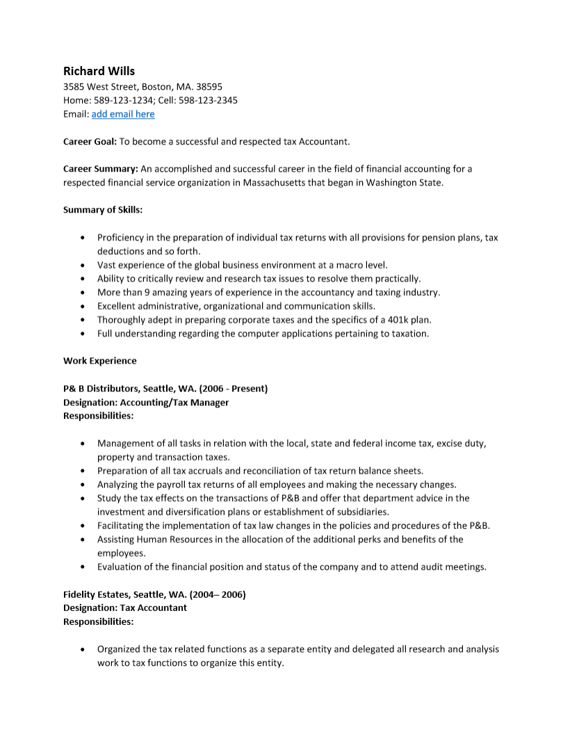 Resume Accountant Resume Sample In Pdf sample tax accountant resume free template ms word