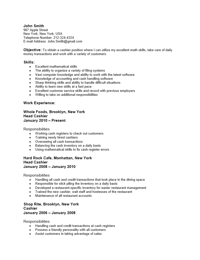 Adobe PDF (.pdf) | MS Word (.doc) | Rich Text  Sample Cashier Resume