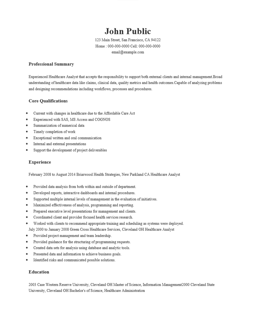 Healthcare Business Analyst Resume Sample October 2020