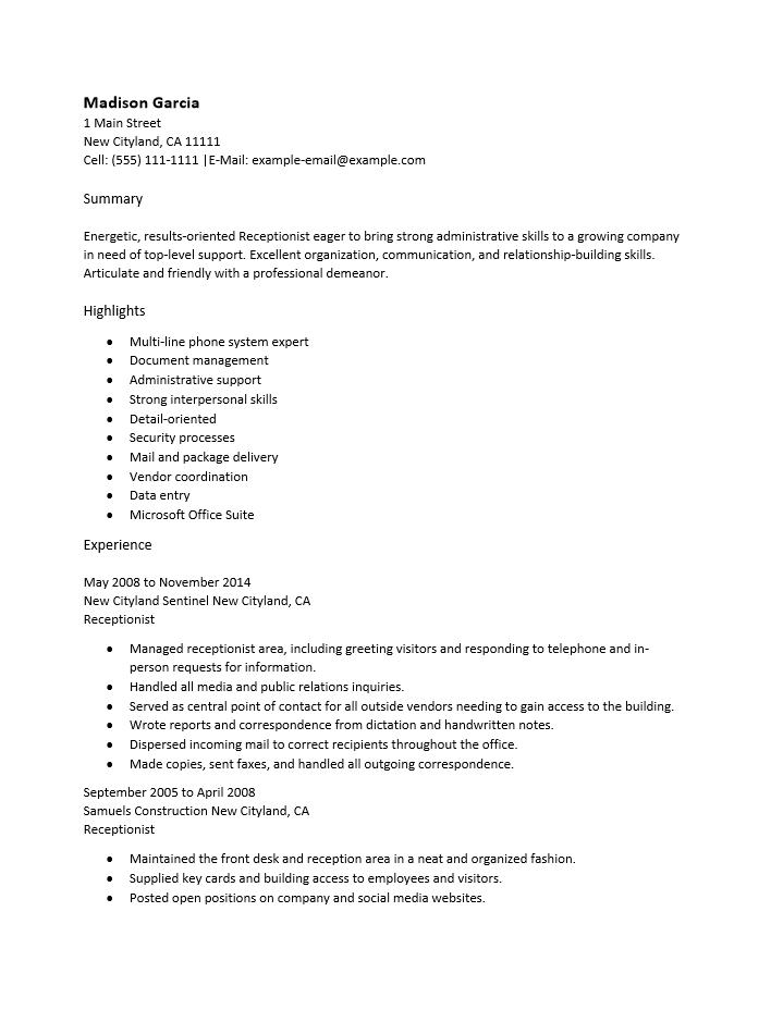 Free Medical fice Receptionist Resume Template Sample
