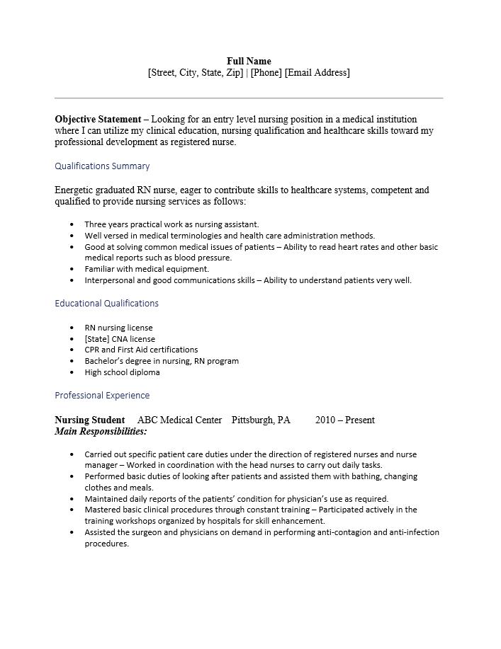 Student Nurse Resume Template Resume Templates